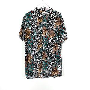 Reason Animal Print Tiger Button Down Shirt